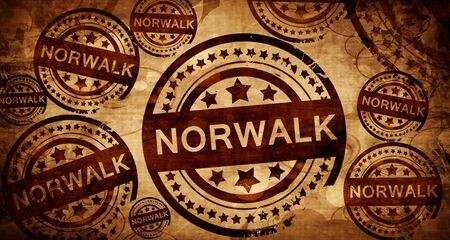 stamped: norwalk, vintage stamp on paper background