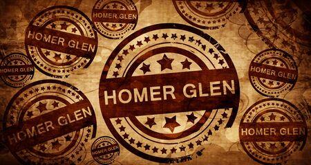 homer: homer glen, vintage stamp on paper background