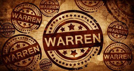 warren: warren, vintage stamp on paper background