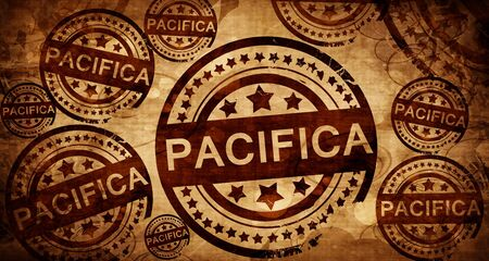 stamped: pacifica, vintage stamp on paper background