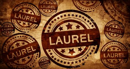 stamped: laurel, vintage stamp on paper background