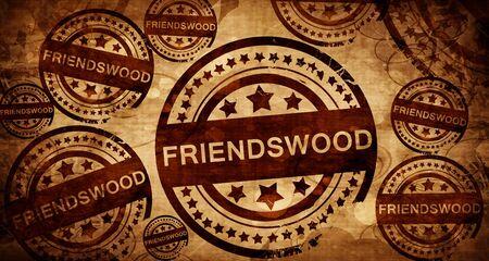 stamped: friendswood, vintage stamp on paper background