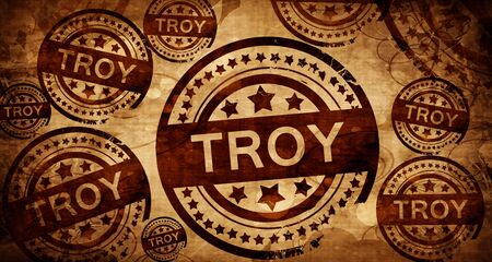 troy: troy, vintage stamp on paper background Stock Photo