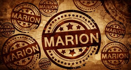 marion, vintage stamp on paper background Stock Photo