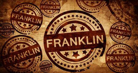 franklin, vintage stamp on paper background Stock Photo