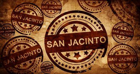 stamped: san jacinto, vintage stamp on paper background