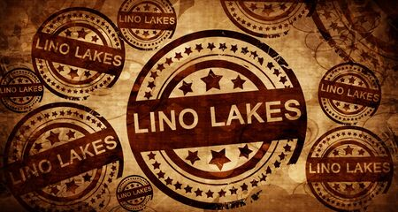 stamped: lino lakes, vintage stamp on paper background Stock Photo