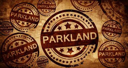 stamped: parkland, vintage stamp on paper background Stock Photo