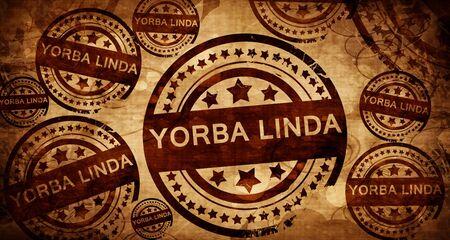 linda: yorba linda, vintage stamp on paper background