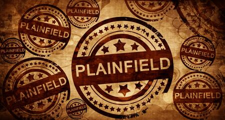 stamped: plainfield, vintage stamp on paper background Stock Photo