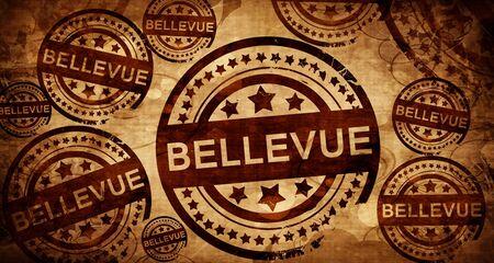 bellevue, vintage stamp on paper background