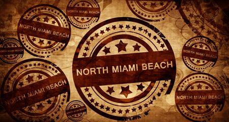 stamped: north miami beach, vintage stamp on paper background Stock Photo