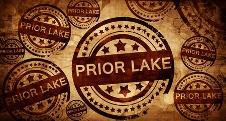 prior lake, vintage stamp on paper background Stock Photo