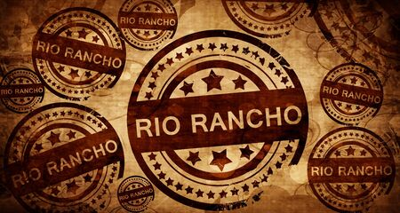 stamped: rio rancho, vintage stamp on paper background