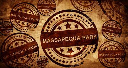 stamped: massapequa park, vintage stamp on paper background Stock Photo