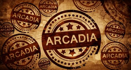arcadia, vintage stamp on paper background