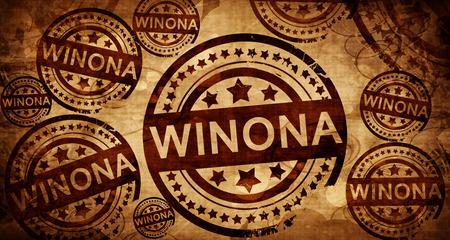 winona, vintage stamp on paper background