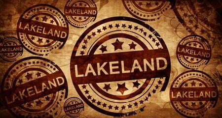 lakeland, vintage stamp on paper background Stock Photo
