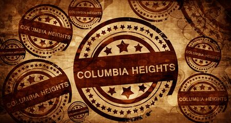 stamped: columbia heights, vintage stamp on paper background Stock Photo
