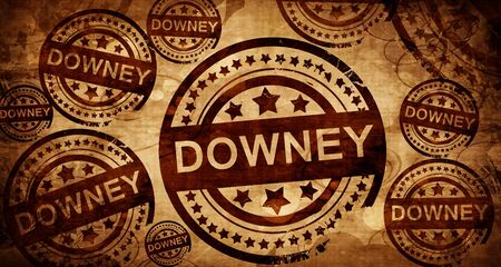 stamped: downey, vintage stamp on paper background Stock Photo