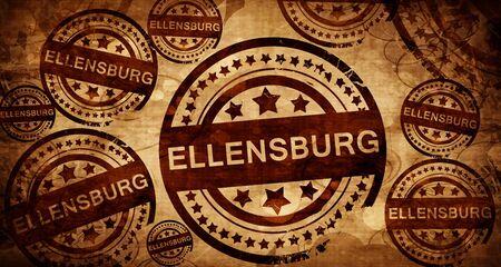 stamped: ellensburg, vintage stamp on paper background Stock Photo