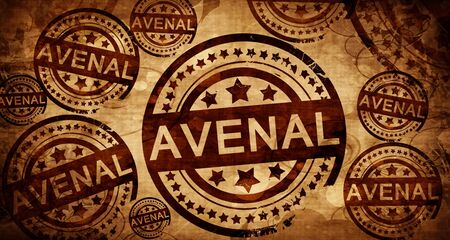 stamped: avenal, vintage stamp on paper background Stock Photo