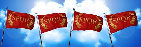 spqr: roman laurel wreath flag, 3D rendering