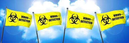 Virus detected flag, 3D rendering