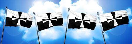 teutonic: Teutonic knights flag, 3D rendering Stock Photo