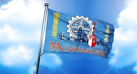 Milwaukee: Milwaukee flag, 3D rendering