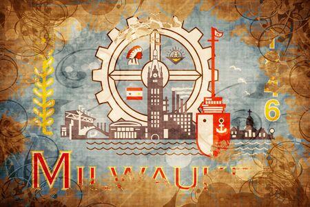 Milwaukee: Vintage Milwaukee flag Stock Photo