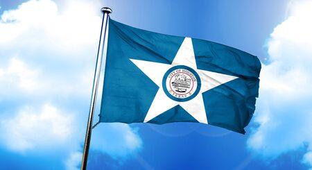 houston flag: Houston flag, 3D rendering Stock Photo