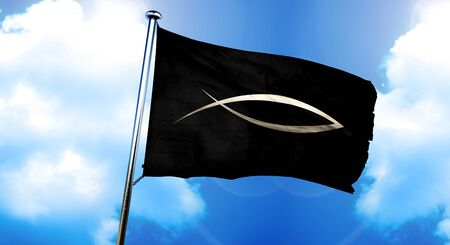 pez cristiano: Christian fish symbol flag, 3D rendering