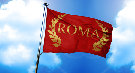 roma laurel wreath flag, 3D rendering Stock Photo