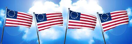 ベッツィー ・ ロス アメリカ初期デザイン旗、3 D レンダリング
