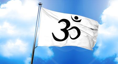 3d om: Om  aum symbol flag, 3D rendering
