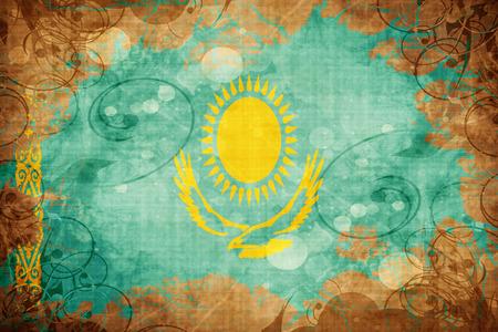 Grunge vintage Kazakhstan flag