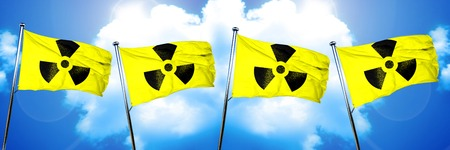gamma radiation: Radiation warning flag, 3D rendering