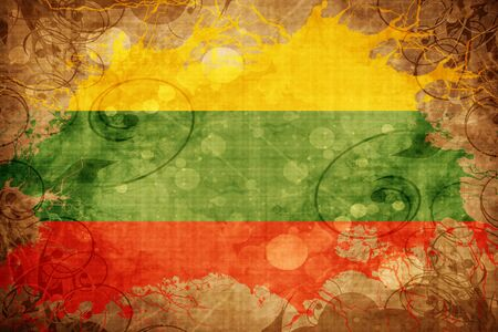 lithuania: Grunge vintage Lithuania flag