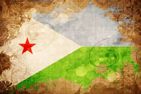 Grunge vintage Djibouti flag Stock Photo