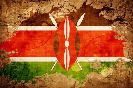 kenya: Grunge vintage Kenya flag