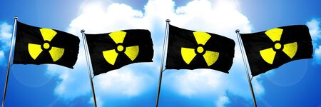 gamma radiation: Radioactive warning flag, 3D rendering