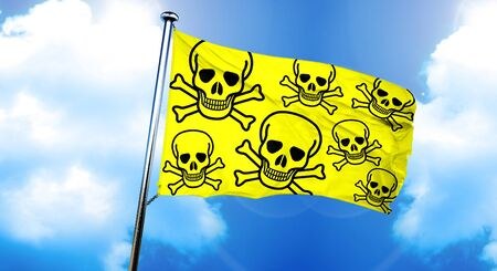 chemical hazard: Poison sign background flag, 3D rendering Stock Photo