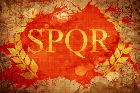 Bandera romana de la guirnalda del laurel del vint Foto de archivo