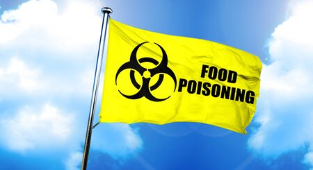 poisoning: Food poisoning flag, 3D rendering Stock Photo