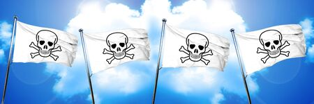 Pirate flag flag, 3D rendering