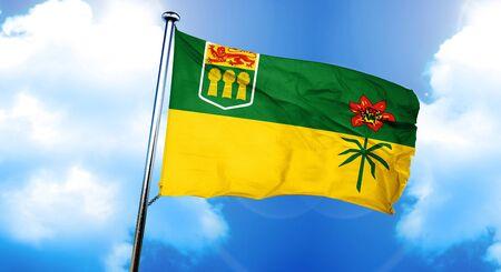 saskatchewan flag: Saskatchewan flag, 3D rendering