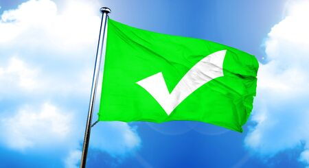 Approved tick flag, 3D rendering Stock Photo