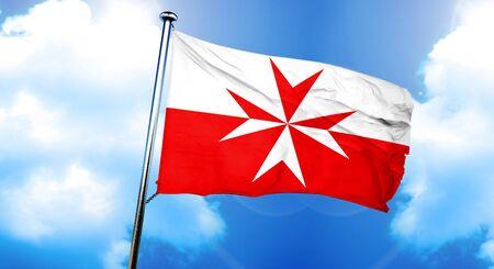 Malta knights símbolo bandera, representación 3D