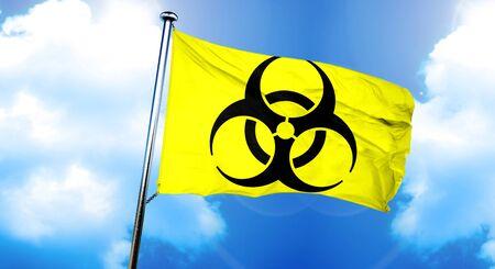 riesgo biologico: Biohazard signo bandera, representación 3D